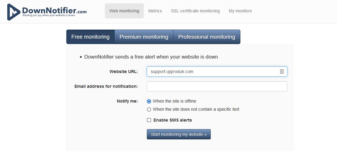 downnotifier untuk cek website down