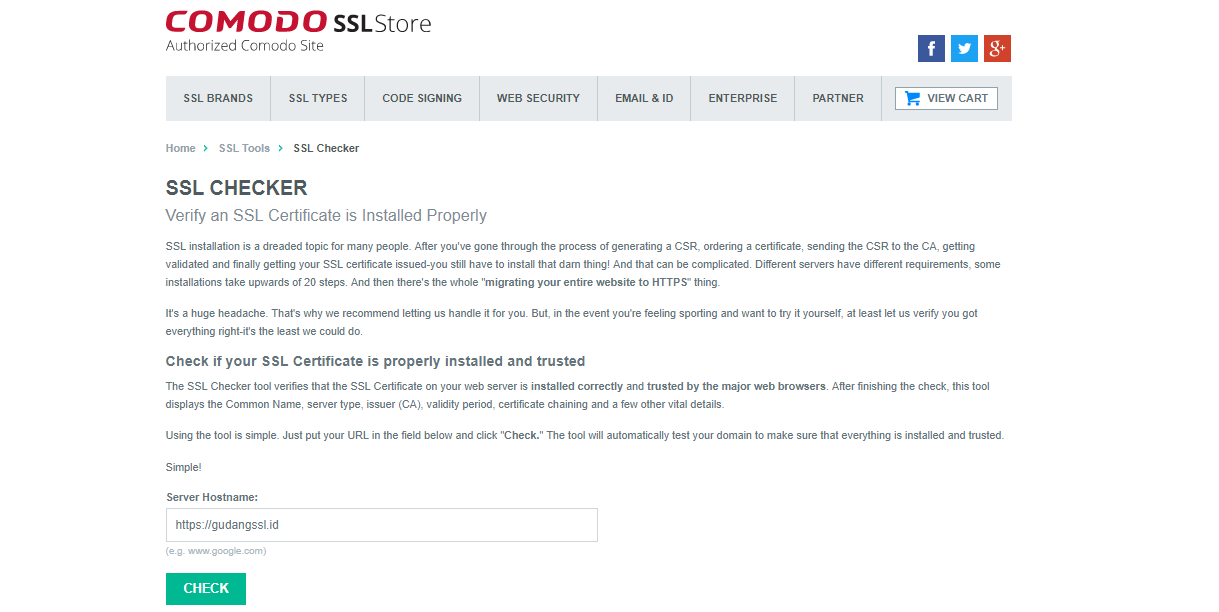 Comodo SSL Checker