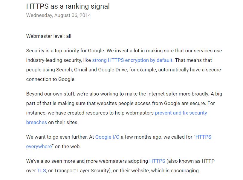 HTTPS Rangking Signal SEO