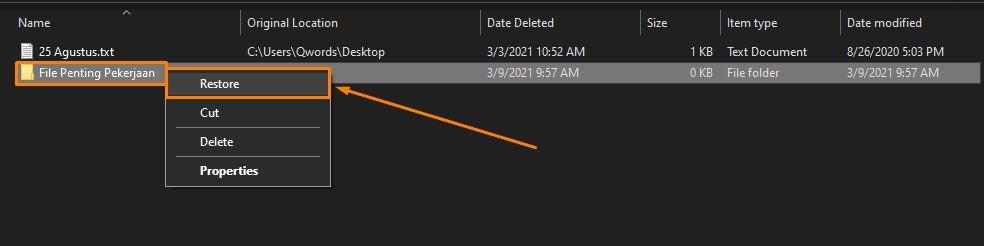 Restore Folder Terhapus